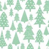 Teste padrão do Natal - árvores variadas e flocos de neve do Xmas Ilustração Stock