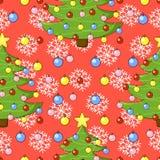 Teste padrão do Natal com árvore de Natal, floco de neve Imagens de Stock Royalty Free