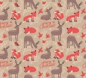 Teste padrão do Natal com cervos e raposas ilustração royalty free