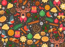 Teste padrão do Natal com elementos festivos tradicionais ilustração royalty free