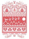 Teste padrão do Natal com elementos sem emenda em vermelho e em branco Imagens de Stock Royalty Free