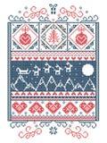 Teste padrão do Natal com elementos sem emenda em vermelho e branco e azul Imagem de Stock Royalty Free