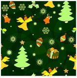 Teste padrão do Natal com flocos de neve e um anjo ilustração stock