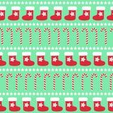 Teste padrão do Natal com meia do xmas, estrelas e bastões de doces Imagem de Stock Royalty Free