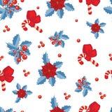 Teste padrão do Natal com poinsétia e folhas e berri vermelhos do azevinho Imagem de Stock Royalty Free