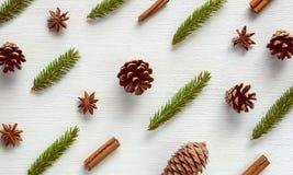 Teste padrão do Natal Configuração do plano da opinião superior da decoração do ano novo Imagens de Stock Royalty Free