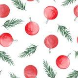 Teste padrão do Natal da aquarela com ramos de árvore do Natal, bolas, doces, mitene e peúga para presentes ilustração stock