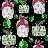 Teste padrão do Natal da aquarela Contém flocos de neve, bolas do Natal ilustração royalty free