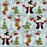Teste padrão do Natal sem emenda com boneco de neve e Christ Foto de Stock Royalty Free