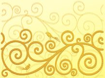 Teste padrão do ouro com pássaros ilustração stock