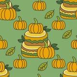Teste padrão do outono com abóboras, folhas, bolo Imagem de Stock