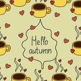 Teste padrão do outono com café e dano Imagem de Stock Royalty Free