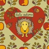 Teste padrão do outono com ouriço, porcas, folhas, maçãs Fotografia de Stock
