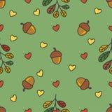 Teste padrão do outono com porcas, folhas, corações Imagem de Stock Royalty Free