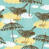 Teste padrão do pássaro e do guarda-chuva Fotos de Stock Royalty Free
