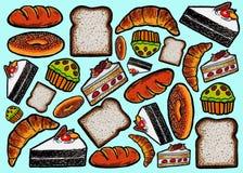 Teste padrão do pão e dos bolos ilustração do vetor