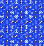 Teste padrão do pinguim com flocos de neve Fotos de Stock Royalty Free