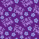 Teste padrão do poder da menina grl pwr com flores coloridas ilustração stock