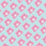 Teste padrão do porco principal cor-de-rosa no fundo azul ilustração do vetor