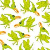Teste padrão do pterodátilo do dinossauro do pássaro Pterodátilo pré-histórico dos pássaros dos desenhos animados no branco Fotos de Stock