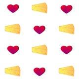 Teste padrão do queijo Fundo do vetor com alimento e coração ilustração stock