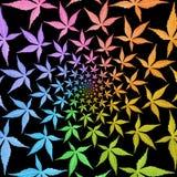 Teste padrão do redemoinho de quadros do círculo das folhas coloridas isoladas no bl Fotos de Stock Royalty Free
