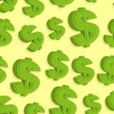 Teste padrão do sinal de dólar sem emenda Fundo abstrato do vetor Fotos de Stock Royalty Free
