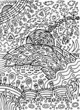 Teste padrão do sumário da garatuja para o livro para colorir para adultos Arte finala tirada mão da tinta Ilustração do vetor ilustração royalty free