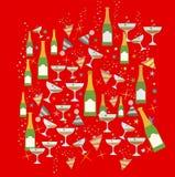 Teste padrão do tema do partido do Natal e do ano novo Fotografia de Stock Royalty Free
