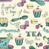 Teste padrão do tempo do chá da cor Imagens de Stock Royalty Free