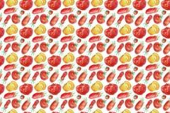 Teste padrão do tomate e fundo sem emenda do vegetal com ilustrações naturais de uma aquarela fotos de stock royalty free