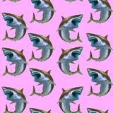 Teste padrão do tubarão no rosa pastel ilustração royalty free