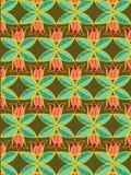 Teste padrão do Tulip e das folhas Fotografia de Stock Royalty Free