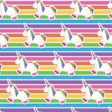 Teste padrão do unicórnio no fundo do arco-íris fotografia de stock