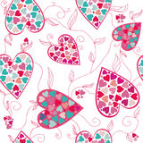 Teste padrão do Valentim com corações do amor. Fotografia de Stock Royalty Free