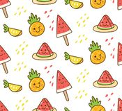 Teste padrão do verão de Kawaii com melancia e abacaxi ilustração stock