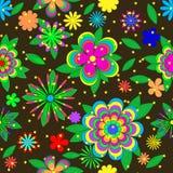 Teste padrão do verão dos desenhos animados das crianças com flores, folhas e estrelas Imagem de Stock Royalty Free