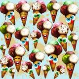 Teste padrão do verão dos desenhos animados dos cones de gelado Imagens de Stock