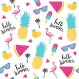 Teste padrão do verão Melancia, abacaxi Imagens de Stock Royalty Free