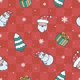 Teste padrão do vermelho do Natal dos desenhos animados Foto de Stock Royalty Free