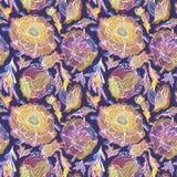 Teste padrão do vetor com as flores claras mágicas ilustração stock