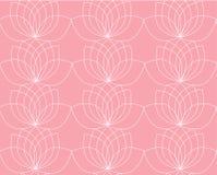 Teste padrão do vetor com contorno de lírios de água ou de lotos no fundo cor-de-rosa ilustração stock