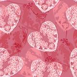 Teste padrão do vetor com coração floral da garatuja Fotos de Stock Royalty Free