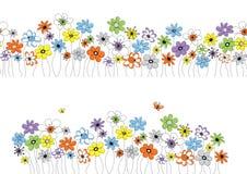 Teste padrão do vetor com flores Foto de Stock Royalty Free