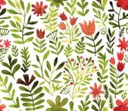 Teste padrão do vetor com flores e plantas Decoração floral Fundo sem emenda floral original Aquarela brilhante das cores ilustração royalty free