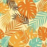 Teste padrão do vetor com folhas tropicais Foto de Stock