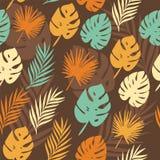 Teste padrão do vetor com folhas tropicais Imagens de Stock Royalty Free