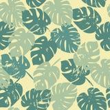 Teste padrão do vetor com folhas tropicais Fotos de Stock