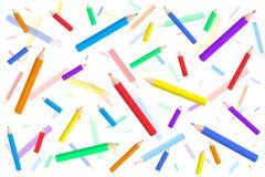 Teste padrão do vetor com lápis coloridos uma confusão Imagens de Stock Royalty Free
