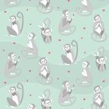 Teste padrão do vetor com macacos e corações ilustração stock